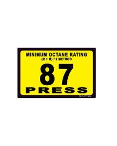 """1-3/4"""" X 2-3/4"""" 87 GILBARCO OCTANE/PRESS Decal"""