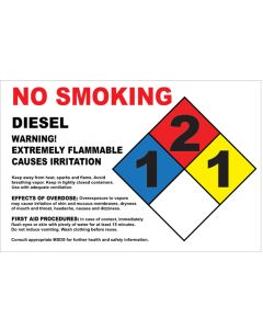 "8"" X 5.25"" NO SMOKING, DIESEL, EXTREMELY FLAMMABLE Decal"