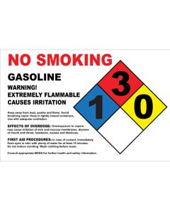 "8"" X 5.25"" NO SMOKING, GASOLINE, EXTREMELY FLAMMABLE Decal"