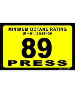"1-3/4"" X 2-3/4"" 89 GILBARCO OCTANE/PRESS Decal"
