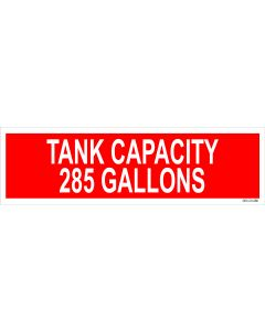 "4"" X 13.5"" CAPACITY OF TANK 285 GALLONS Decal"