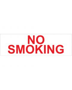 "4"" X 13.5"" NO SMOKING PUMP Decal - WHITE W/ RED LETTERING"