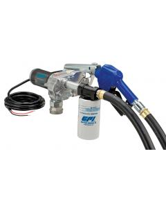 GPI M-180S-AU, 12V 18GPM Fuel Transfer Pump, Auto Nozzle, Filter Kit