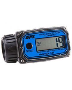 GPI 113255-24, 01N31GM-U Nylon Turbine DEF Flowmeter with Digital LCD Display, 3-30 GPM, 1-Inch FNPT Inlet/Outlet